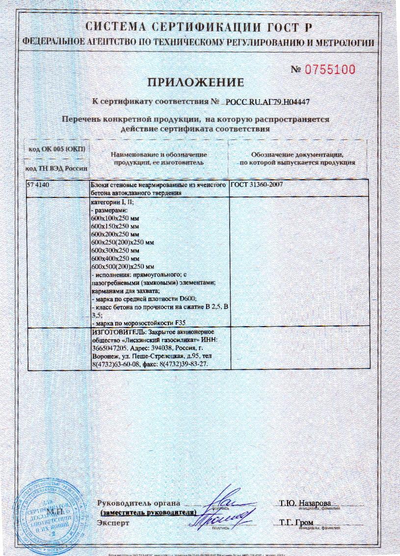 сертификат газосиликатные блоки Лиски Д600-2
